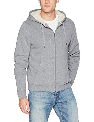 Amazon Essentials Men's Sherpa Lined Full-Zip Hooded Fleece Sweatshirt, Light Grey Heather, Large - Pharaoh Athletics