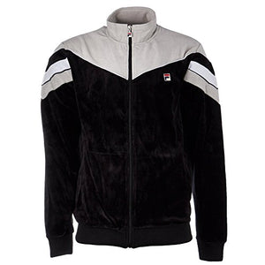 Fila Men's Contrast Yoke Velour Jacket, Black, Highrise, 2XL