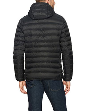 Amazon Essentials Men's Lightweight Water-Resistant Packable Hooded Down Jacket, Black, Large