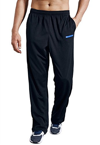 Zengvee Men's Sweatpant with Pockets Open Bottom Athletic Pants for Jogging, Workout, Gym, Running, Training(0317-Solid Black,M)