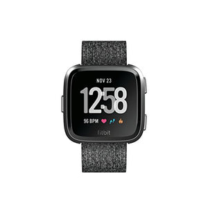 Fitbit Versa Special Edition Smart Watch, Charcoal Woven, One Size (S & L Bands Included)