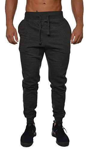 YoungLA Mens Slim Fit Joggers Fitness Activewear Sports Fleece Sweatpants For Gym Training Charcoal Medium