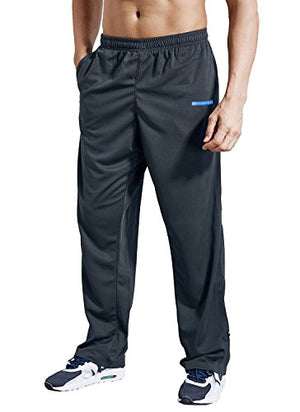 Zengvee Men's Sweatpant with Pockets Open Bottom Athletic Pants for Jogging, Workout, Gym, Running, Training(0317-Solid Gray,L)