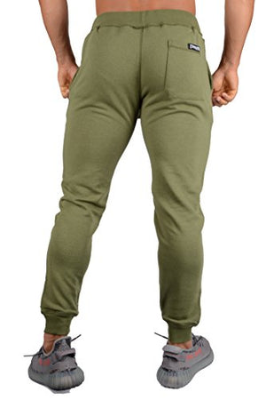 YoungLA Joggers Pants for Men Athletic Sweatpants Gym Workout Slim Fit with Pockets 216 Olive Medium