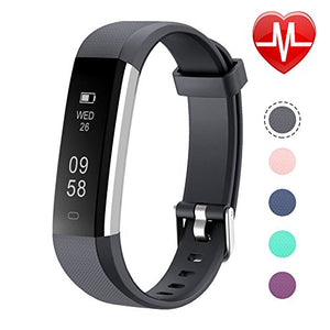 Letsfit Fitness Tracker, Slim Activity Tracker with Heart Rate Monitor, Pedometer Watch, Sleep Monitor, Step Counter, Calorie Counter, Waterproof Fitness Band for Kids Women and Men (Black)