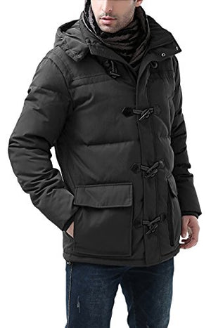 BGSD Men's Connor Hooded Waterproof Toggle Down Parka Coat - M Black