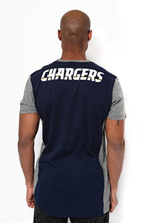 Icer Brands NFL Los Angeles Chargers Men's T-Shirt Raglan Block Short Sleeve Tee Shirt, Medium, Navy