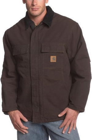 Carhartt Men's Big & Tall Arctic-Quilt Lined Sandstone Duck Traditional Coat C26,Dark Brown,Large Tall
