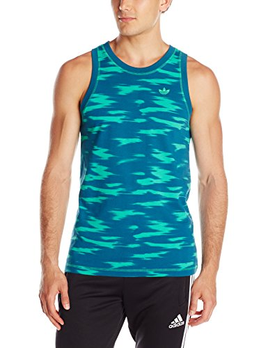 adidas Originals Men's Camo Sky Tank Shirt, Surf Green/Blush Blue, Large