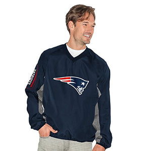 G-III Sports NFL New England Patriots Adult Men Gridiron V-Neck Pullover, Small, Navy