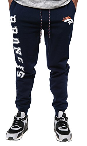 NFL Denver Broncos Men's Jogger Pants Active Basic Fleece Sweatpants, Large, Navy - Pharaoh Athletics