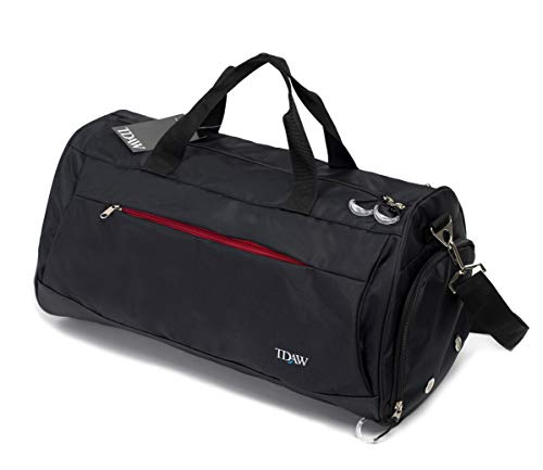 [tdaw] Sports Bag, Gym Bag, Duffle Bag with Shoe Compartment for Gym, Workout, Golf, Travel and Other Activities