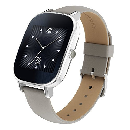 ASUS ZenWatch 2 Silver with Beige Leather Strap 37mm Smart Watch with Quick Charge Battery, 4GB Storage, 1.45-inch AMOLED Gorilla Glass 3 TouchScreen, IP67 Water Resistant (International Version)