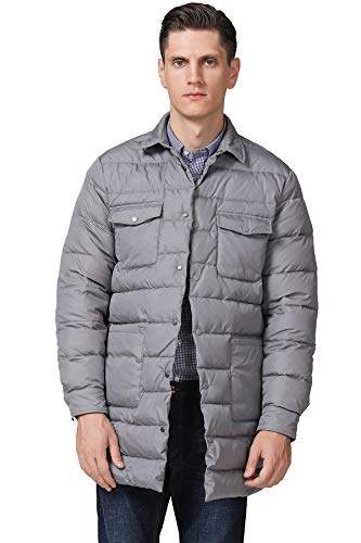 Escalier Men's Down Jacket Mid-Length Stand Collar Packable Puffer Down Coats