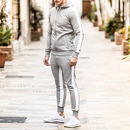 Ouber Men's Gym Jogger Pants Slim Fit Workout Running Sweatpants with Zipper Pockets (L,Grey)