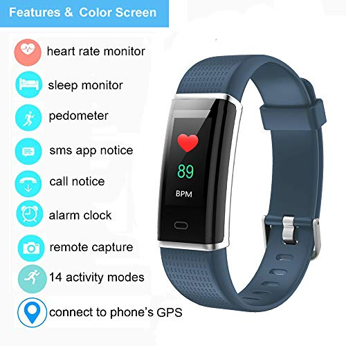 YAMAY Fitness Tracker with Heart Rate Monitor, Fitness Watch Activity Tracker Smart Watch with Sleep Monitor 14 Sports Mode,Pedometer Watch for Kids Men Women (Color Screen,IP68 Waterproof) (Gray)