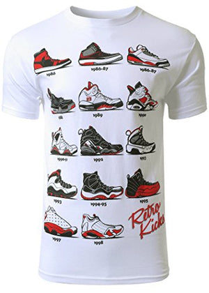 Mens Hipster The Retro Kicks Jordan Running Print T-Shirt