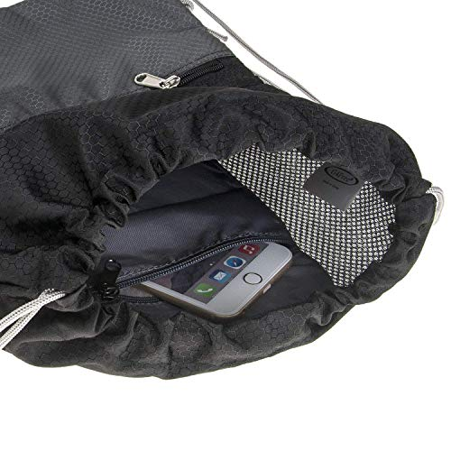G4Free Water Repellent Gymbag Large Drawstring Backpack Sackpack String Bag Cinch Sack Gymsack for Shopping Sport Yoga Tennis Ball(Black-Black)