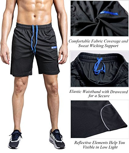 "1994Fashion Men's Running Shorts Gym Active Shorts with Pockets Quick Dry 7"" for Sports, Trainning, Workout 666 Grey M"