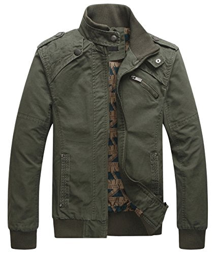 chouyatou Men's Casual Long Sleeve Full Zip Jacket with Shoulder Straps (Large, Army Green)