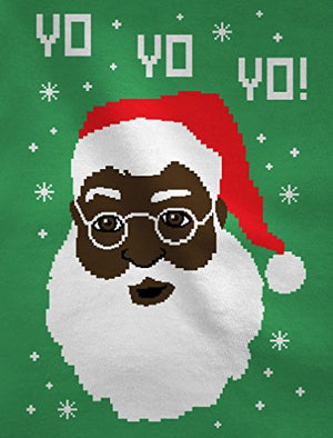 Yo Yo Yo Black Santa Ugly Christmas Sweater Long Sleeve T-Shirt Small Black