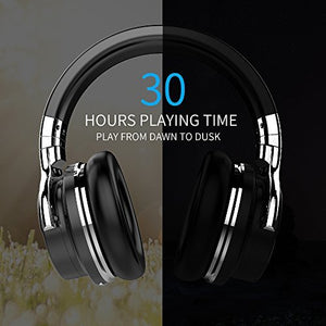 COWIN E7 Active Noise Cancelling Headphones Bluetooth Headphones with Mic Deep Bass Wireless Headphones Over Ear, Comfortable Protein Earpads, 30H Playtime for Travel Work TV PC Cellphone - Black
