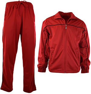 Mens Athletic 2 Piece Tracksuit Set (2XL, 212-Red)