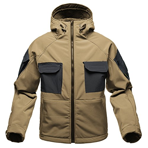 FREE SOLDIER Windproof Mountain Outdoor Hooded Softshell Jacket Fleece Lined Snowboarding Ski Jacket