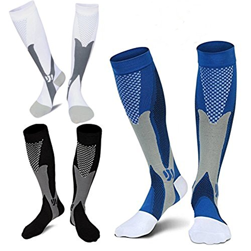 3 Pairs Medical&Althetic Compression Socks for Men, 20-30 mmHg Nursing Performance Socks for Edema, Diabetic, Varicose Veins,Shin Splints,Running Marathon (Blue+Black+White)
