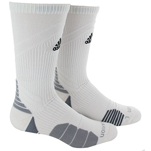 adidas Traxion Menace Basketball/Football Crew Socks (1-Pack), White/Black/Light Onix/Onix, Large
