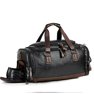 Men Gym Bag Leather Travel Weekender Overnight Duffel Bag Sports Luggage Tote For Men