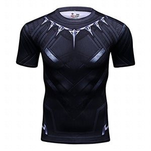 Red Plume Men's Film Super-Hero Series Compression Sports Shirt Skin Running Short Sleeve Tee (L, Panther)