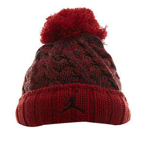 Jordan Mens Jumpman Cable Beanie Hat Red One Size