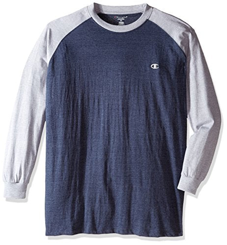 Champion Men's Big and Tall Long Sleeve Jersey T-Shirt, Navy Heather/Grey, 2X