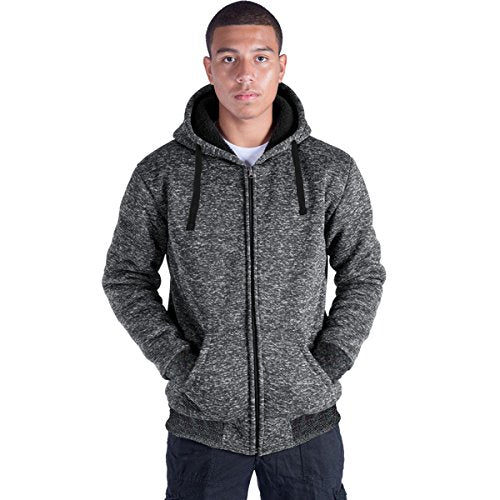 Eurogarment Plus Size S-5XL Marled Fleece Hoodie for Men Heavyweight Sherpa Lined Full Zip up Big&Tall Long Sleeve Winter Jacket Coat(Dk.Grey, XL)