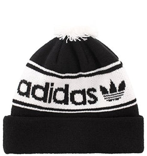 adidas Men's Originals Pom Beanie, Black/White, One Size