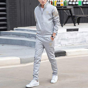Realdo Clearance Sale Men's Athletic Tracksuit Set Warm Running Jogging Sportwear Sweat Suit (Large,Grey)