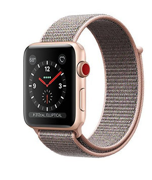 Apple Watch Series 3 42mm Smartwatch (GPS + Cellular, Gold Aluminum Case, Pink Sand Sport Loop Band) (Refurbished)