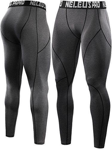 Neleus Men's 2 Pack Compression Pants Workout Running Tights Leggings,6013,Black,Grey,US S,EU M