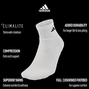 adidas Men's Quarter Socks (6-Pack), White/Black, Shoe: 6-12
