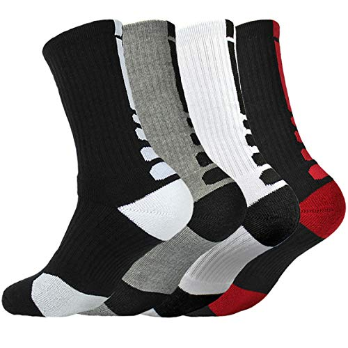 4 Pack Men Dri-fit Cushion Basketball Athletic Long Sports Outdoor Socks Compression Crew Sock Size 6.5-11.5
