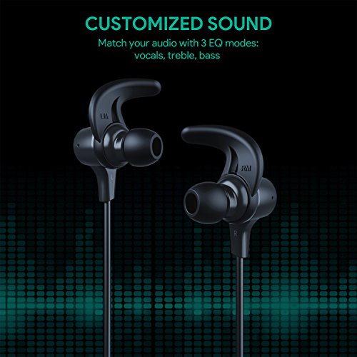 AUKEY Latitude Wireless Headphones, 3 EQ Sound Modes, aptX and Sweat-Resistant Nano Coating, Secure Fit Bluetooth Sports Earbuds, 8-Hour Battery Life