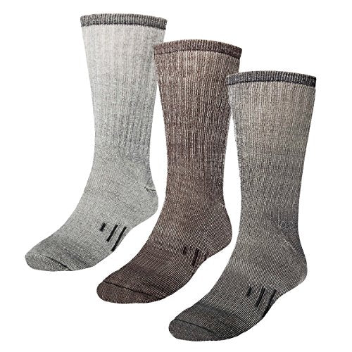 3 Pairs Thermal 80% Merino Wool Socks Hiking Crew, black, gray, brown, men's shoe size 9-12, women's 11-13