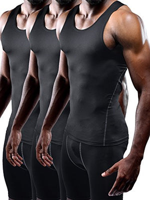 Neleus Men's 3 Pack Athletic Compression Under Base Layer Sport Tank Top