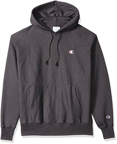 Champion LIFE Men's Reverse Weave Pullover Hoodie, Granite Heather/Left Chest C Logo, Large