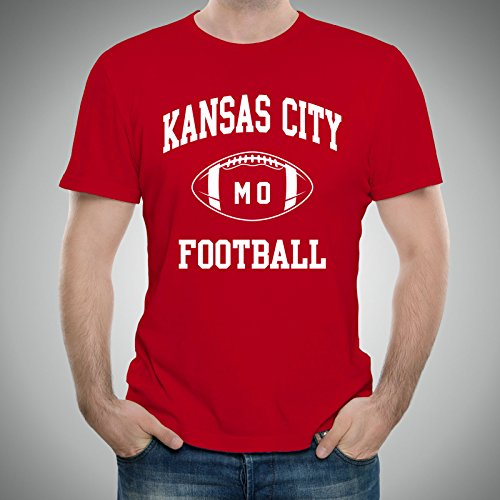 Kansas City Classic Football Arch Basic Cotton T-Shirt - 3X-Large - Red - Pharaoh Athletics