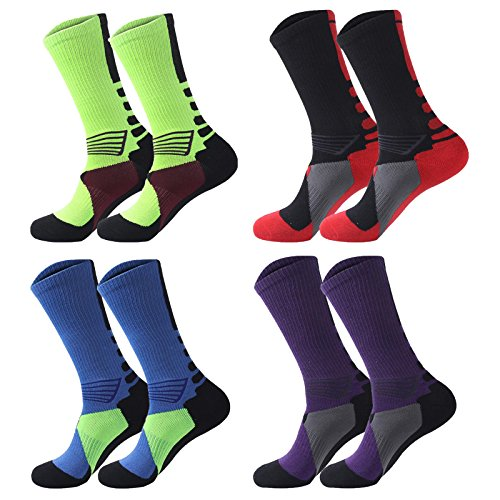 4 pack Men's Crew Socks Basketball Cushioned Dri-Fit Athletic Compression Sport Socks size 6.5-11.5 (Sport style 2)