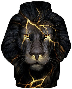 Pandolah Men's 2017 Fashion Athletic Sweatshirts Animal Printed Hoodies (L/XL, 222light Lion-1)