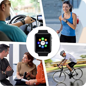 Bluetooth Smart Watch, Sazooy Touchscreen Smart Wrist Watch Smartwatch Phone Fitness Tracker with SIM SD Card Slot Camera Pedometer Compatible iOS iPhone Android Samsung for Men Women Kids (Black)