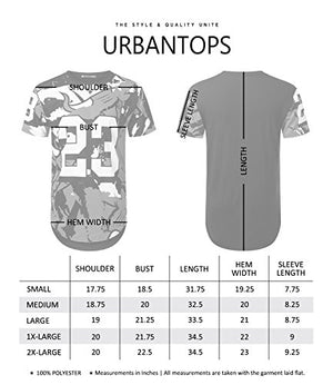 URBANTOPS Mens Hipster Hip Hop Cartoon Bulls 23 Longline T-Shirt,Twts019_black,X-Large